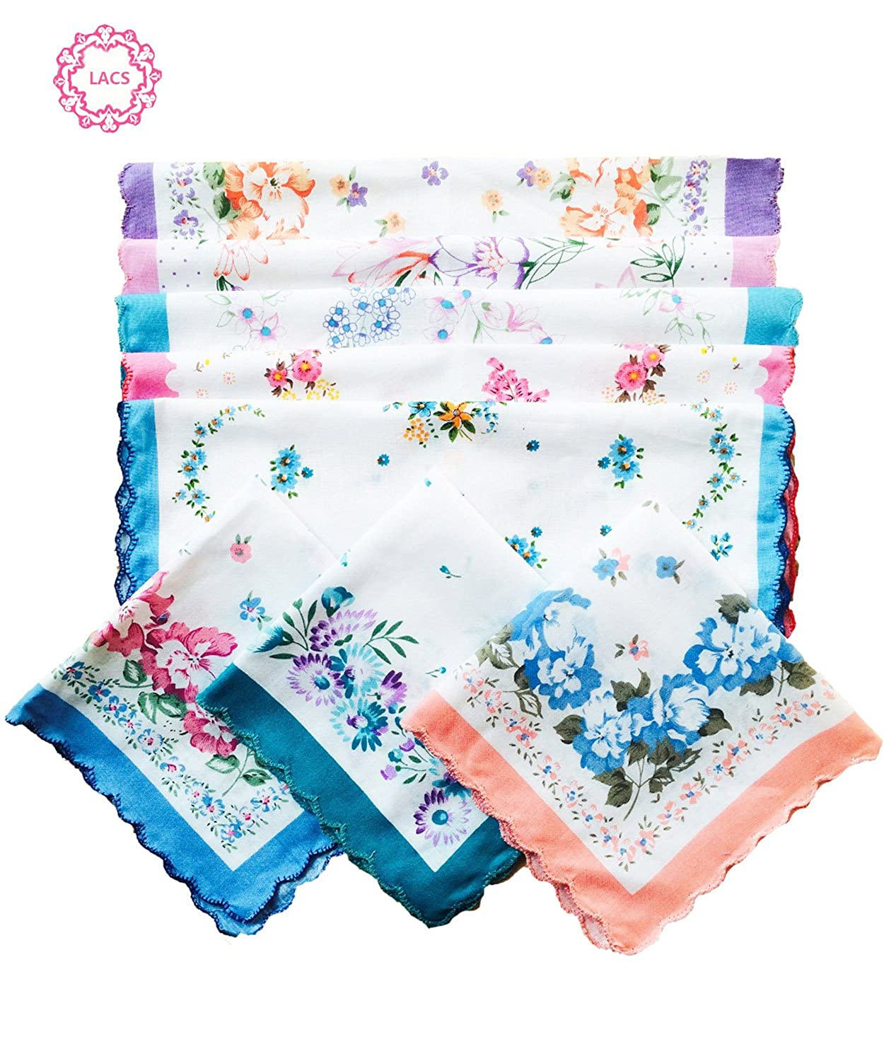 Ladies Ladies Pretty Floral Cotton handkerchiefs Assort Lot Hankies 11inch LACShs004-12pcs