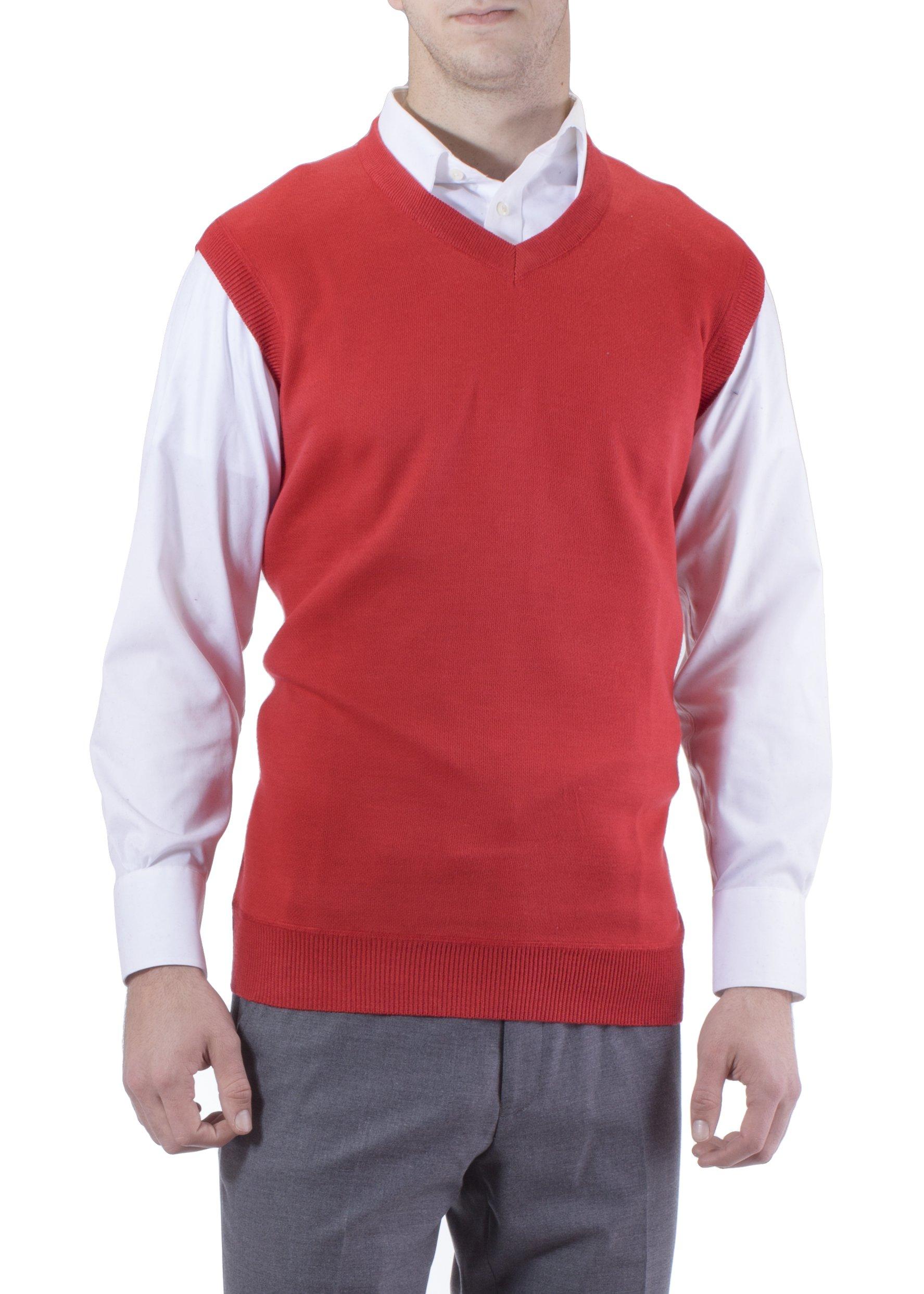 Alberto Cardinali Men's Solid Color V-Neck Sweater Vest SVS1 SVS1 (Large, Red) by Alberto Cardinali