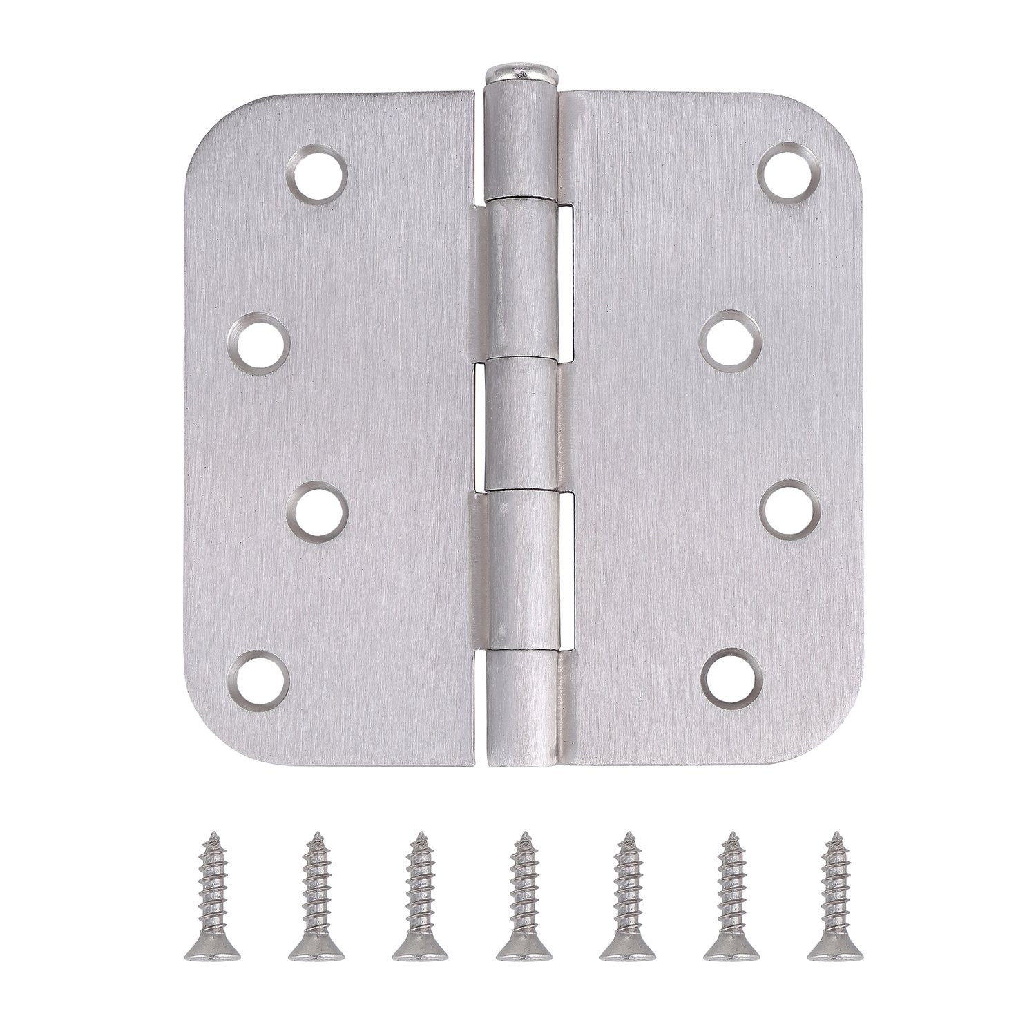 "Pack of 10 Residential Door Hinges - 4 Inch - Satin Nickel Finish - 5/8"" Radius Corner by Dependable Direct"