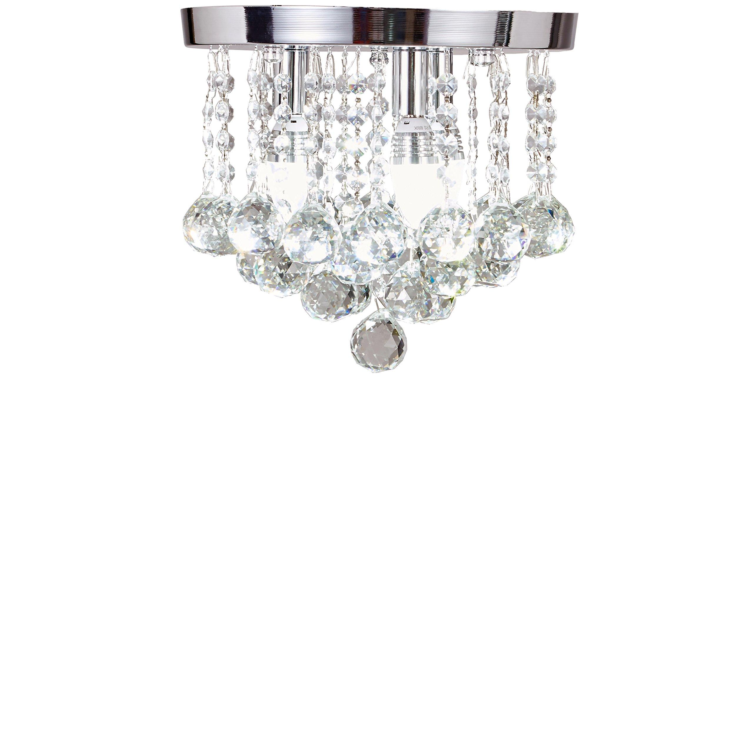 SwanHouse Flush Mount Ceiling Lighting Fixture, Silver Color, KKP-X-3L-S W12 x H11