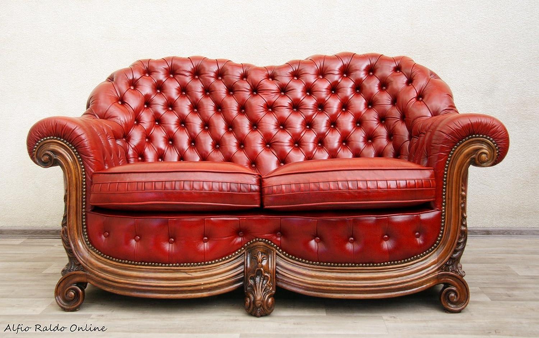 Chesterfield Sessel Sofa Leder alt antik vintage Zweiersofa