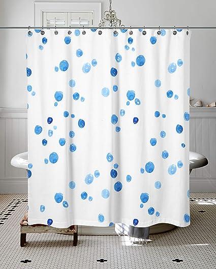 Marcia Huxley Size 66quotx 72quot Blue Raindrop Dots Curtain Customized Shower