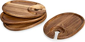 TOSCANA - a Picnic Time Brand Cocktail Appetizer Plates with Wine Glass Holder, Set of 4