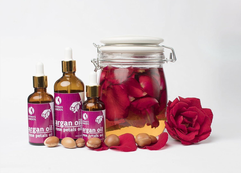 Aceite de argán Fatimas Garden con pétalos de rosa Macerado para el rostro, el cabello, la piel y las uñas. Hidratante antiedad marroquí, orgánico (Argan + ...