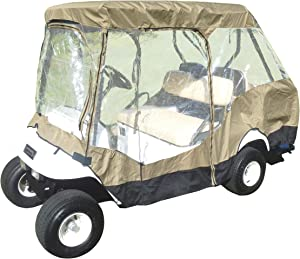 """Formosa Covers Premium Tight Weave Golf Cart Driving Enclosure 2 Passenger + 2 Passenger Bench roof up to 58"""""""