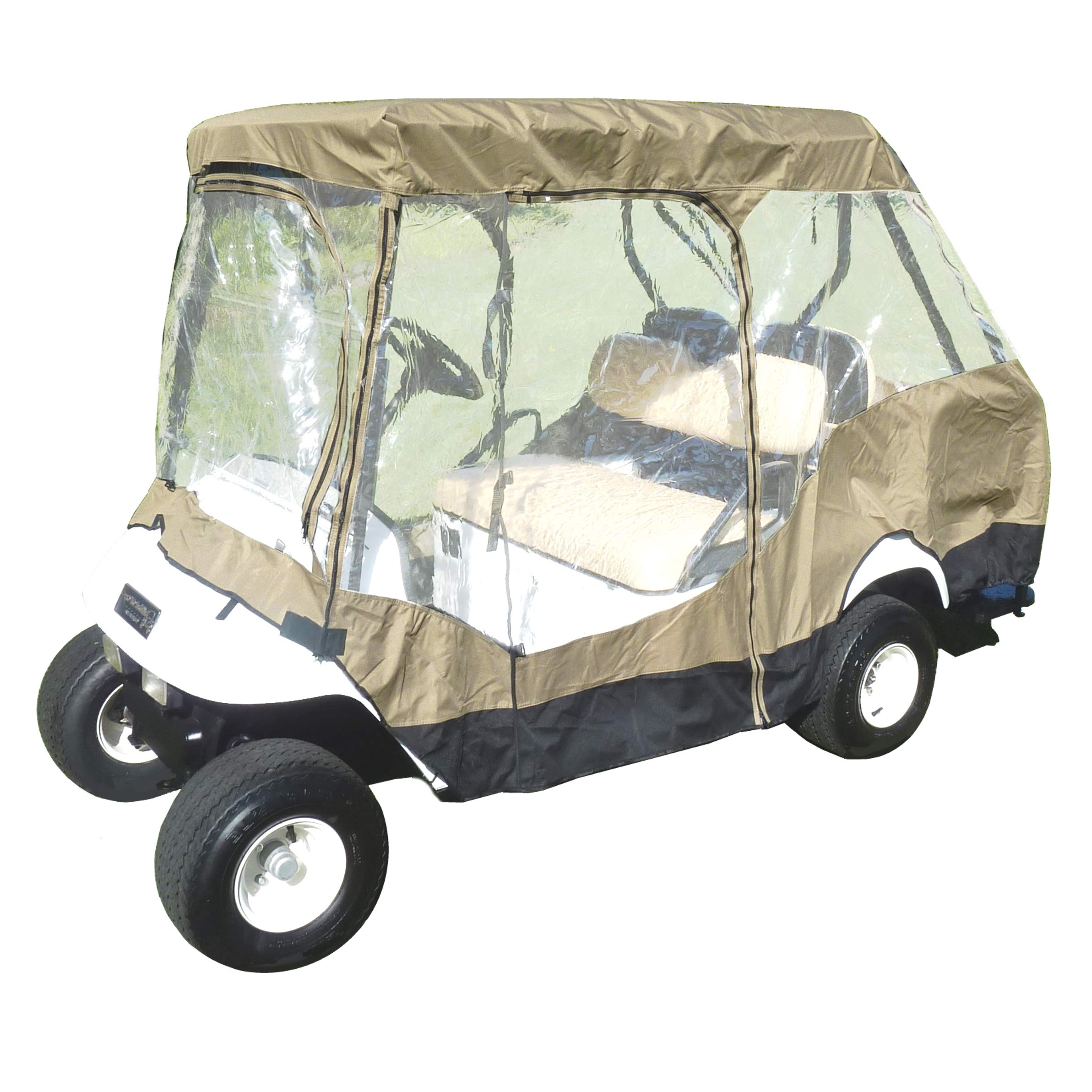 Formosa Covers Premium Tight Weave Golf Cart Driving Enclosure for 4 seater with 2 seater roof up to 58''