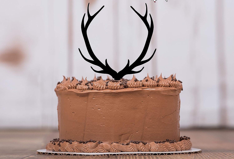 Cake Decor LT1015 Deer Decor Birthday Party Mans Cake Topper Wedding Cake Topper Deer Antler Cake Topper with Vine Initials Acrylic