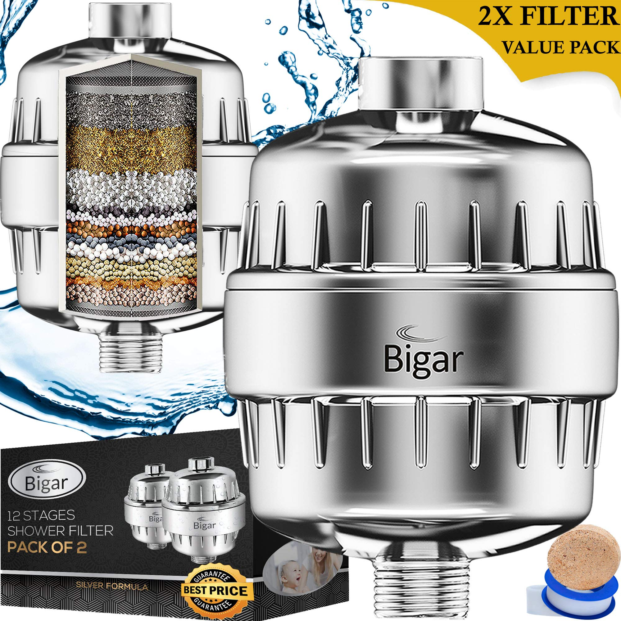 2PACK | SilverPure 12x Nano & Vitamin C Formula Water Softener Shower Head Filter for Hard Water - Beautify & Cleanse - 12 Stage Filters | Remove Chlorine & More for Radiant Skin, Hair & Nails