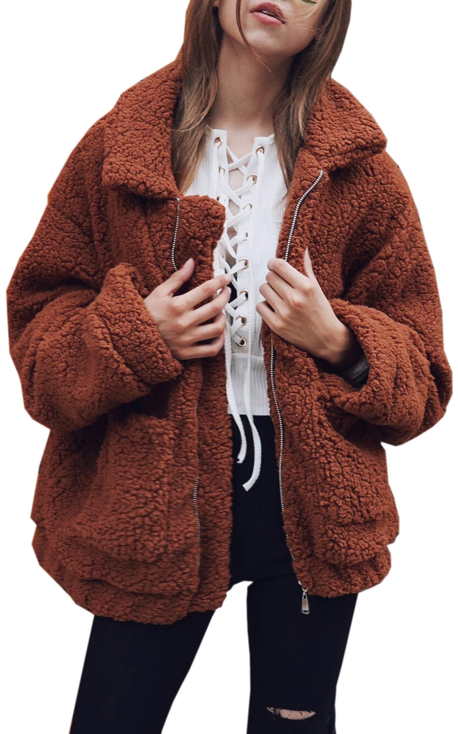 Hibluco Women's Long Sleeve Lapel Faux Fur Zip up Fleece Coat