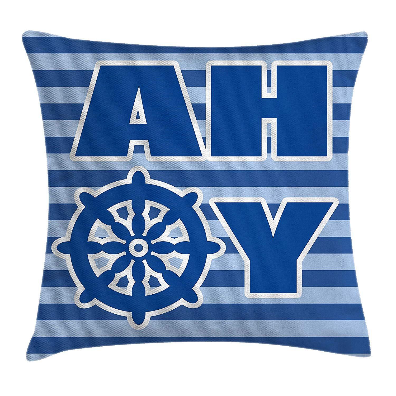 Queen Area Ahoy Its a Boy Ahoy Written Nautical Wheel Striped Nursery Wall Decor Square Throw Pillow Covers Cushion Case Sofa Bedroom Car 18x18 inch, Blue Light Blue White
