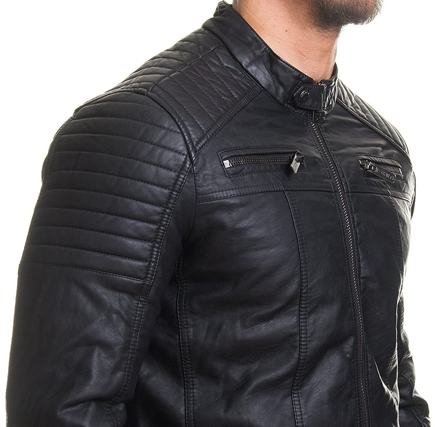 COOFANDY Men's Classic Leather Motorcycle Jacket Winter Biker ...