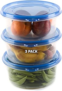 [3 PACK] 48oz Round Plastic Reusable Storage Containers with Snap On Lids - Airtight Reusable Plastic Food Storage, Leak-Proof, Meal Prep, Lunch, Togo, Stackable, Bento Box, BPA-Free by EcoQuality