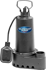 Superior Pump 92501 1/2 HP Cast Iron Submersible Sump Pump with Tethered Float Switch