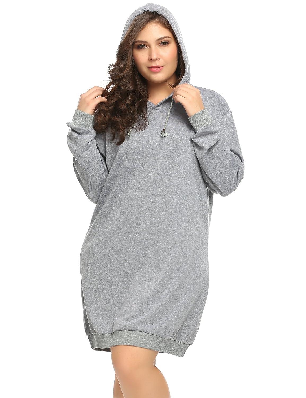 INVOLAND Womens Plus Size Long Sleeve Hooded Pullover Sweatshirt Hoodie Dress 16W-24W