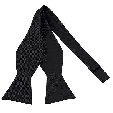 eb4123c6a380 100% Silk Mens Bowtie Black Bow Ties for Men Self Tie Tuxedo Bow Tie ...
