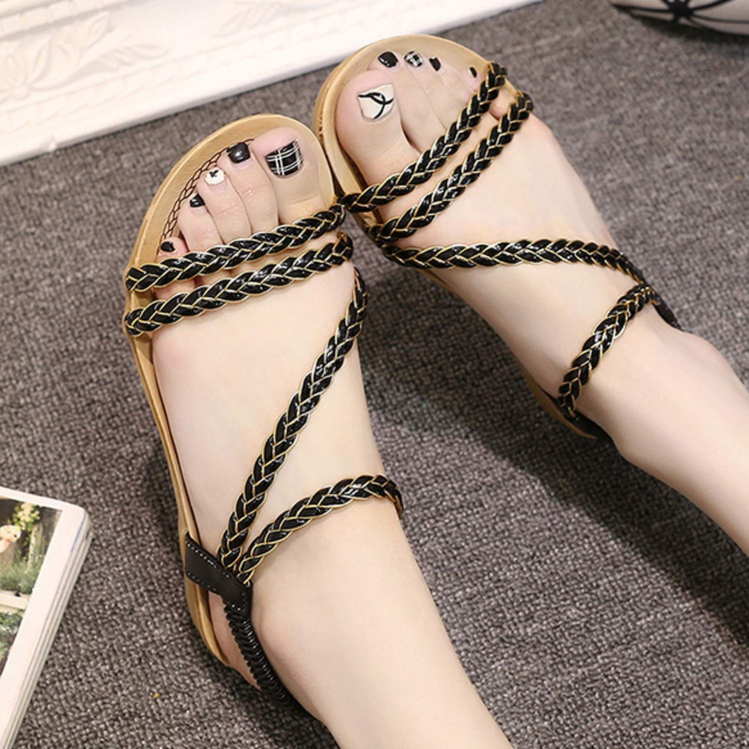 Sandals Summer Open Toe Summer Women Shoes Fish Mouth Roman Shoes Casual Flat Sandals
