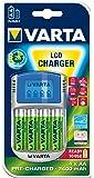 Varta Power LCD Charger - Cargador con adaptador USB y 12 V, con 4 pilas recargables AA 2400 mAh
