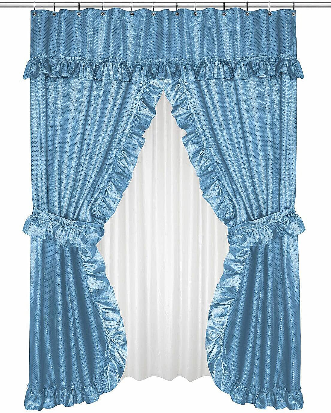 White Diamond Dot Ruffled Fabric Bathroom Window Curtain With Attached Valance and Tiebacks
