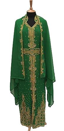 Abielmo Ladies Farasha Kaftan Jalabiya Khaleeji Abaya Burka Jilbab Wedding  Maxi Dress - Gold Colour Crystal ec5cc991d