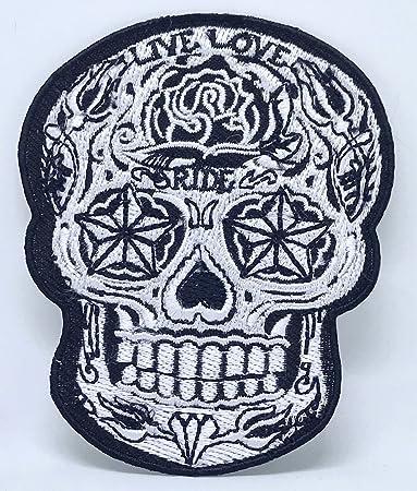 Amazoncom Sugar Skull Rose Live Love Ride Biker Tattoo Ironsew On