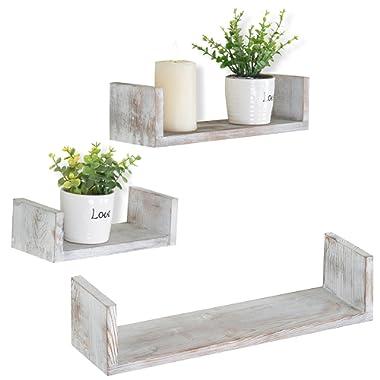 MyGift Wall Mounted Wood U-Shaped Floating Shelves, Set of 3, Brown