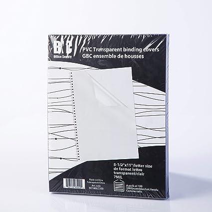 BNC 7 mil 8 – 1/2 x 11 pulgadas, carta Tamaño PVC cubiertas de encuadernación – Pack de 100, claro (bc180lc100): Amazon.es: Oficina y papelería