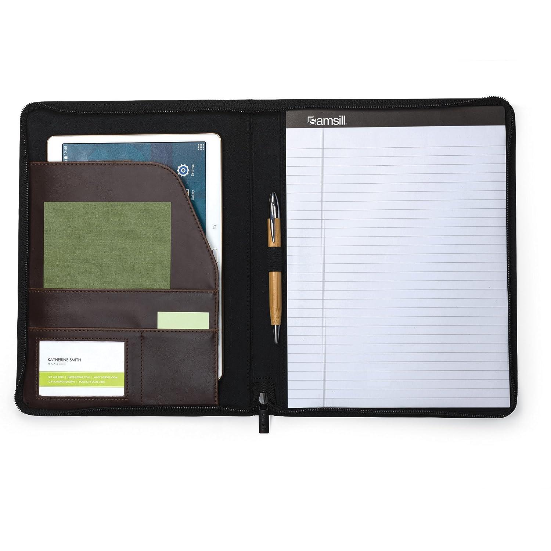 Samsill 70836 Vintage Hardback Portfolio with Zippered Closure Dark Brown 8.5 inch x 11 inch Writing Pad