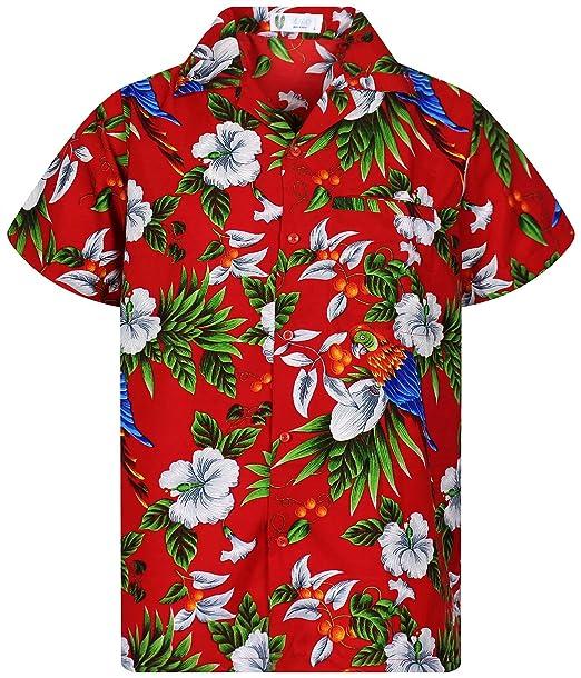 new concept 2cb35 997b1 Funky Camicia Hawaiana | Uomo | XS - 12XL | Manica Corta | Tasca-Frontale |  Stampa Hawaiano | Cherry Parrot | Vari Colori