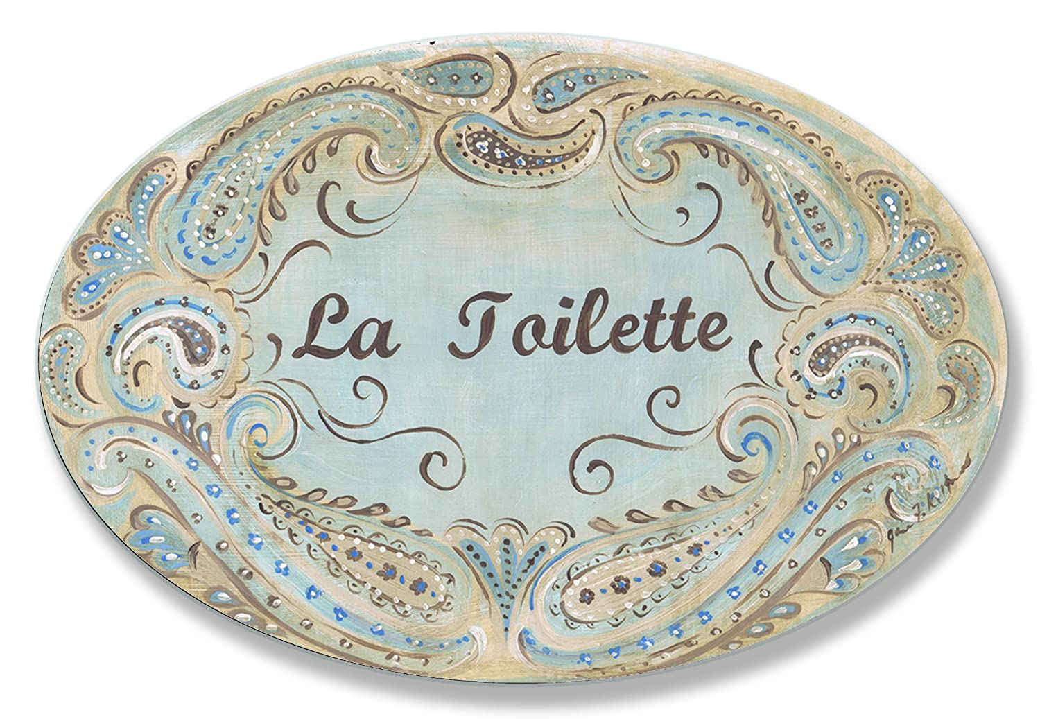 The Stupell Home Decor Collection La Toilette Blue and Brown Paisley Oval Bathroom Wall Plaque
