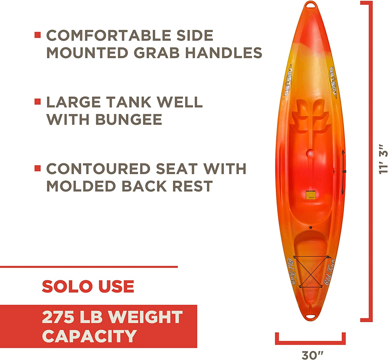 Old Town Twister Sit-On-Top Kayak, Sunrise, 11 Feet 3 Inches