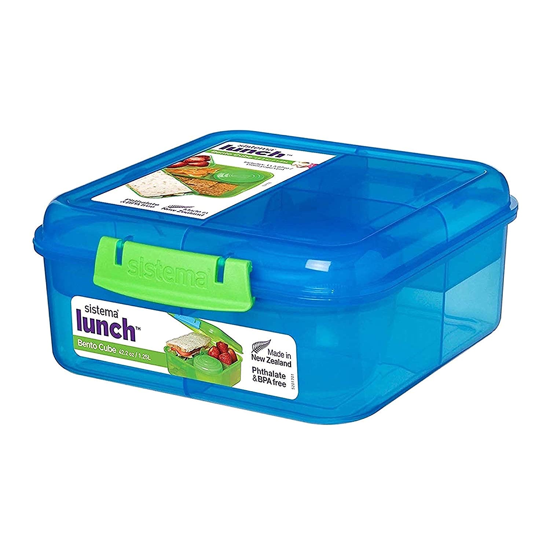 Sistema Bento Cube Box to Go with Fruit/Yoghurt Pot, 1.25 L - Clear/Blue 216852