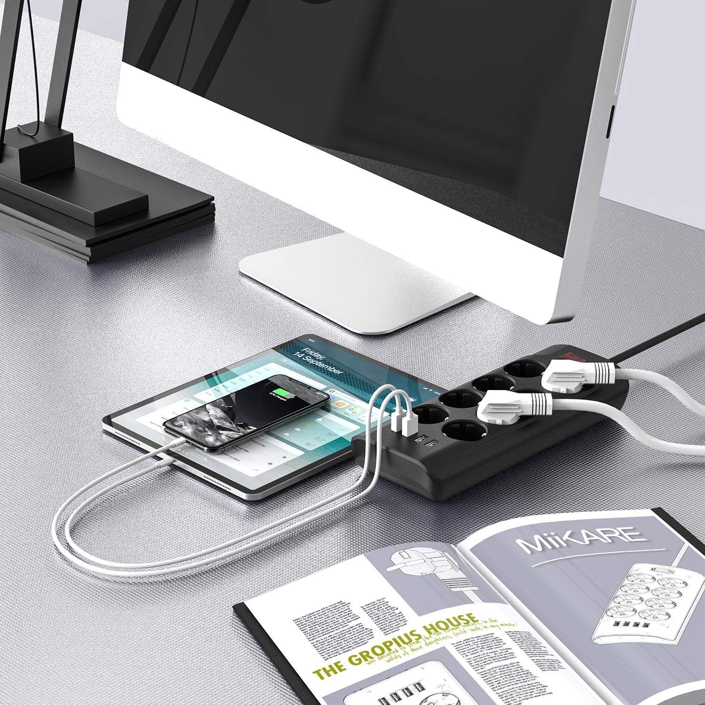 Cordon de 2m MiiKARE Multiprise Parasurtenseur Parafoudre avec 8 Prises avec 4 Ports USB Multiprises Electrique Protection Contre Surcharges et Surtensions Protection jusqu/à 1500 Joules Noir