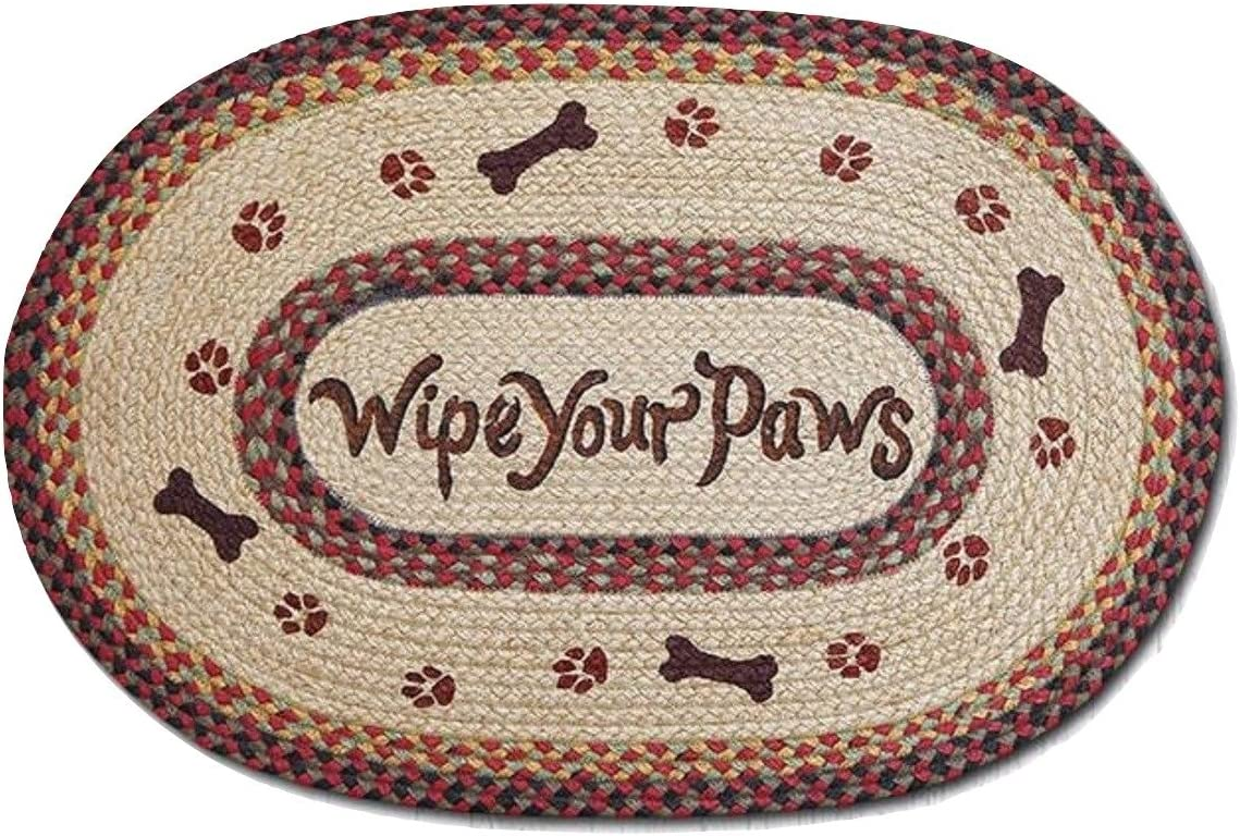 Braided Jute Rug Says Wipe Your Paws