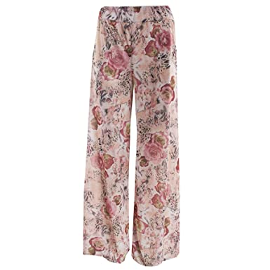 b337d4f2e85 Womens Ladies Printed Flared Wide Leg Parallel Pants Trousers Palazzo  Leggings  Amazon.co.uk  Clothing