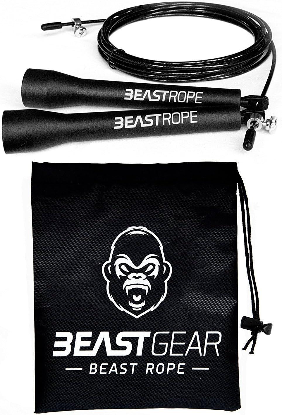 Cuerda para saltar de alta velocidad de Beast Gear. Comba de CrossFit, Boxeo, MMA. Longitud Ajustable y Rodamientos Ligeros, Ideal para Saltos Dobles. Garantía de por vida