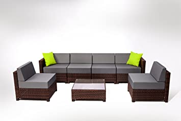Amazon.com : MCombo 7 Piece 6081 New Brown Wicker Patio Sectional ...