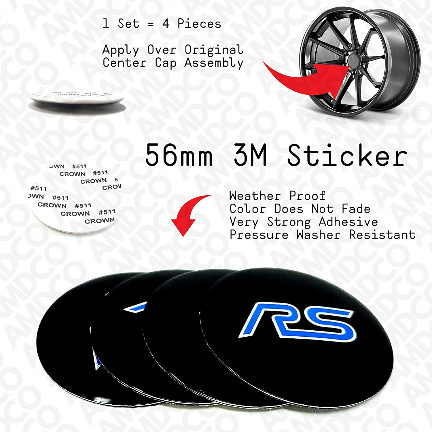 56MM BLACK BLUE AMD pack of 4 56MM BLACK Emblem Badge Stickers Decals with Strong 3M Includes instructions MEASURE Before Purchase Fitment Top Quality fit For RS