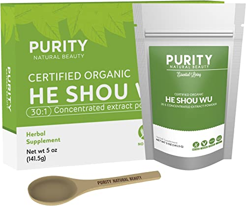 Certified Organic He Shou Wu – Large 5oz Bag of 30 1 Concentrated He Shou Wu Organic Extract Plus Free Bamboo Spoon
