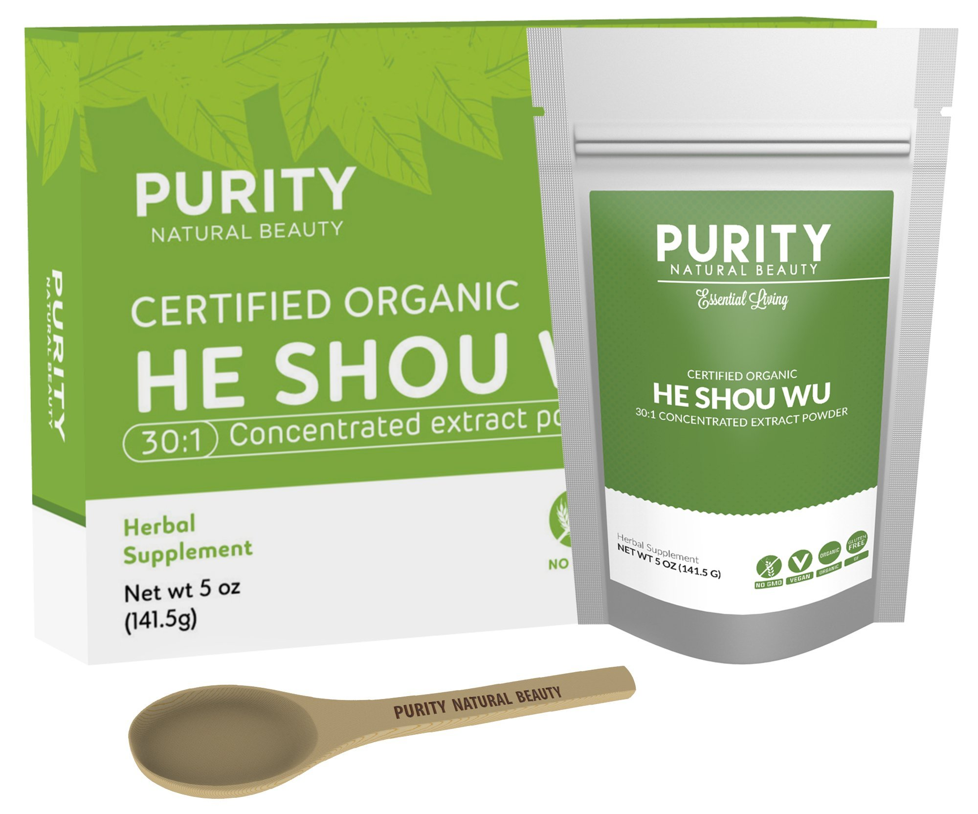 Certified Organic He Shou Wu - Large 5oz Bag, 30:1 Potency Fo Ti for Maximum Effectiveness, Traditionally Prepared, Pleasantly Mild Taste, Dissolves Easily in Coffee Or Tea, Concentrated Extract