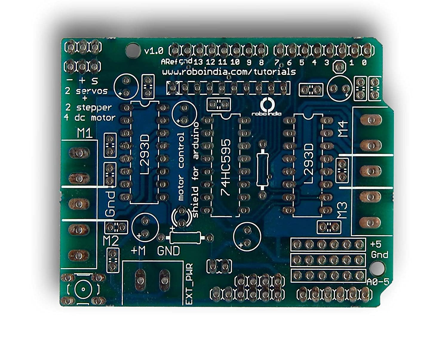 Robo India M S Shield Arduino Motor Driver For Geared Dc Bridge Circuit Bidirectional Control Stepper Servo User Manual Industrial Scientific