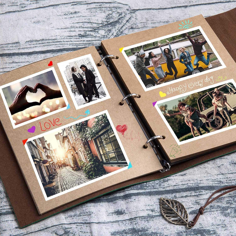 Czoele Album Photo Cuir Vert Album Scrapbooking,Vintage Bricolage Auto-adh/ésif Photo Livre,Mariage Livre dor Cadeau pour Saint Valentin Anniversaire Mariage No/ël Femme Copain,Feuilles