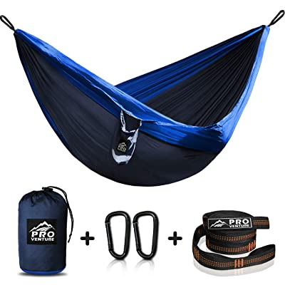 Double and Single Camping Hammocks - Hammock with Free Premium Straps & Carabiners - Lightweight and Compact Parachute Nylon. Backpacker Approved and Ready for Adventure!: Kitchen & Dining