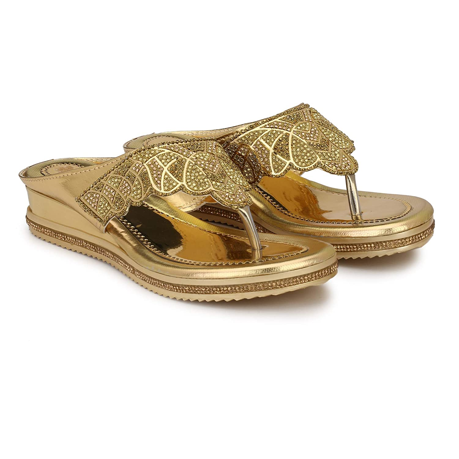 7a8f450ec MGZ Golden Bridal Flat Party Wear Flip Flop Chappal for Girls Women - UK7   Buy Online at Low Prices in India - Amazon.in
