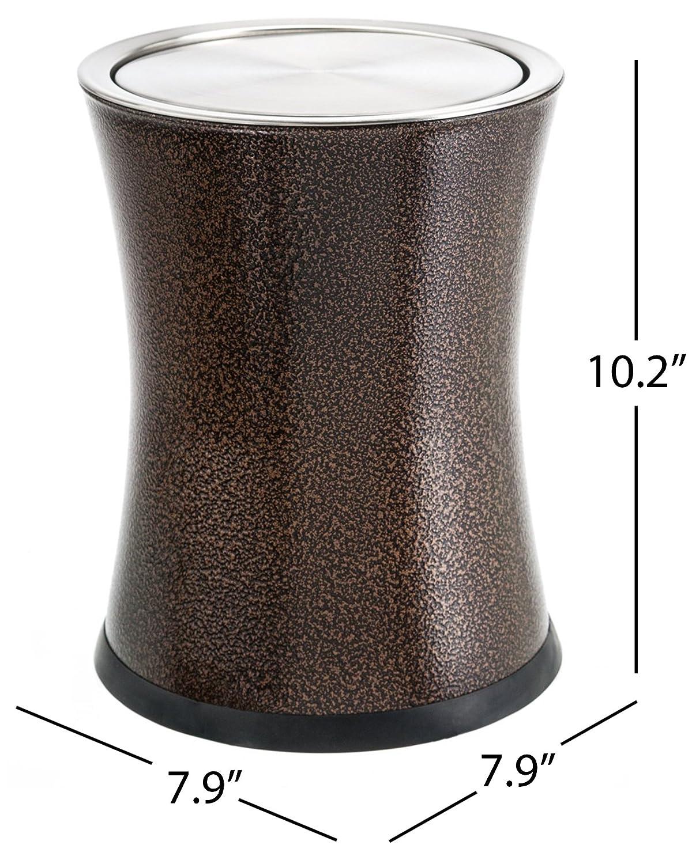 """ベネット"""" swivel-a-lid """"ゴミ箱、金属魅力的な' center-inset ' Designedくずかご、モダンホーム飾り、ラウンド形状 ブラウン DGP-BRN LN B00KXFL5LU ブラウン ブラウン"""