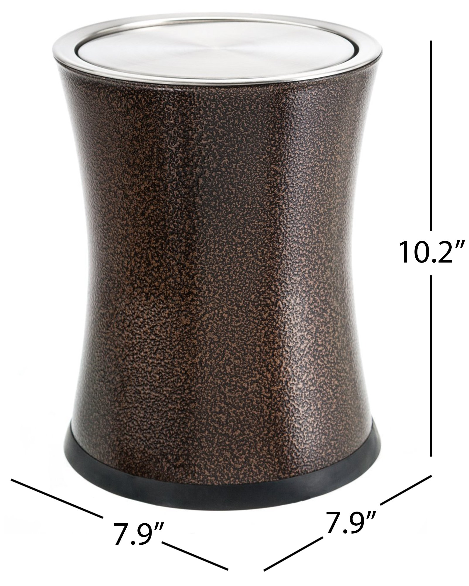 Bennett ''Swivel-A-Lid'' Small Trash Can, Metal Attractive 'Center-Inset' Designed Wastebasket, Modern Home Décor, Round Shape (Brown)