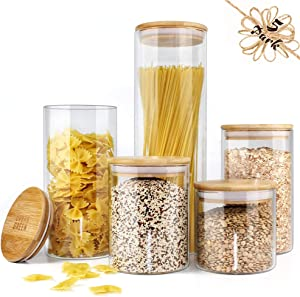 Glass Jar with Bamboo Lids Urban Green, Glass Airtight food Storage Containers, Glass Canister set, Spice Jar, Glass storage containers with lids, Pantry Organization and Storage set of 5