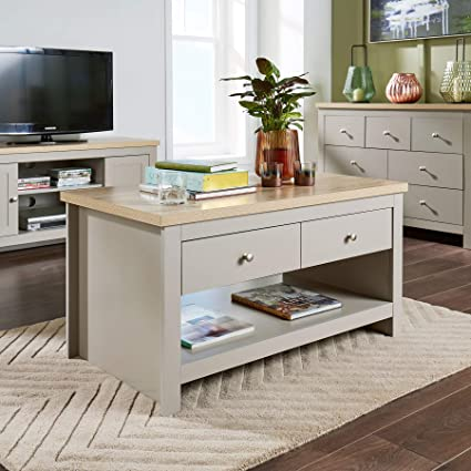 Home Source Grey Oak Coffee Table 2 Drawer Occasional Reception