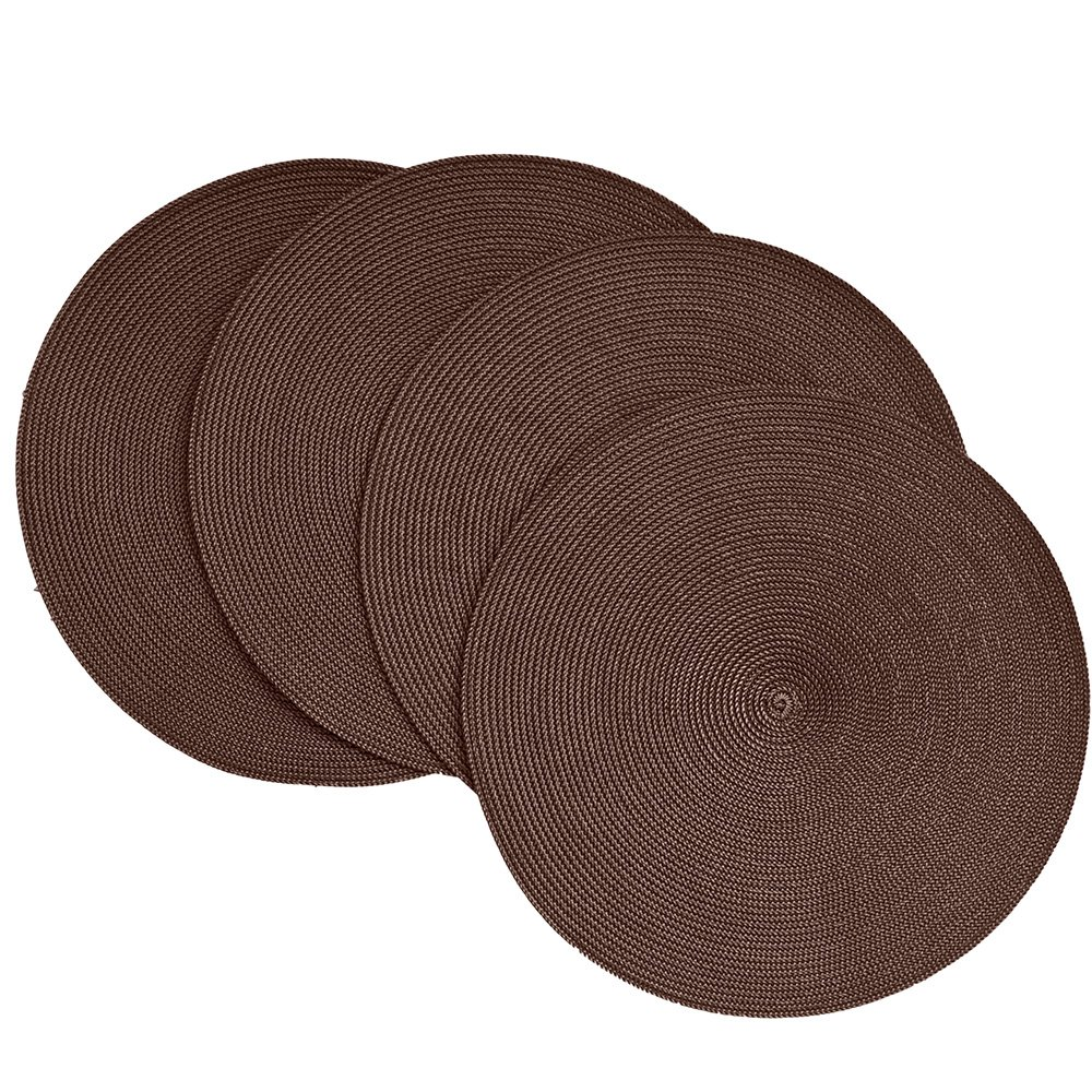 Chocolate Victorian Braided Round Placemats Set of 4