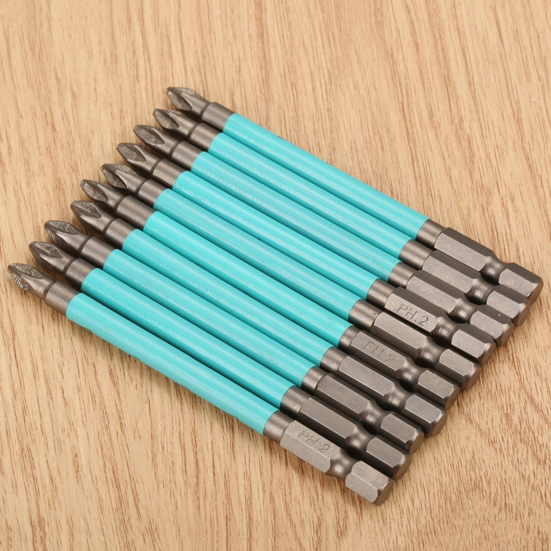 Dophee 10pcs Screwdriver Drill Bits 100mm 1//4 Hex Shank PH2 S2 Magnetic Impact Anti Slip Drill Set