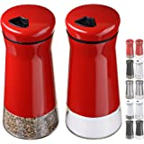 CHEFVANTAGE Salt and Pepper Shakers Set with Adjustable Holes - Red